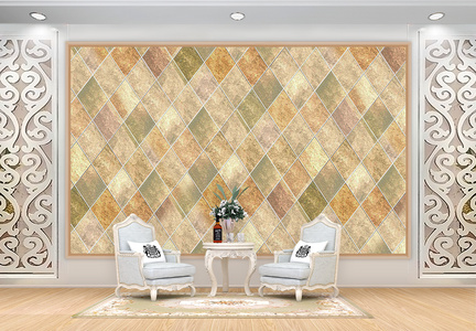 瓷砖拼色几何图形电视背景墙图片