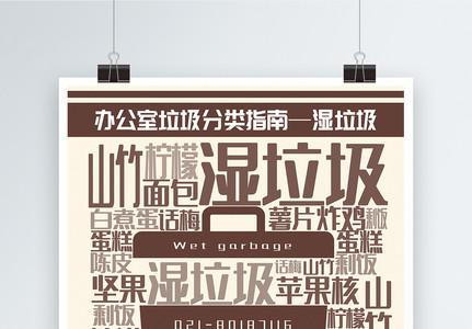 简洁湿垃圾办公室垃圾分类指南系列宣传海报图片