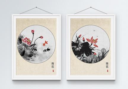 水墨荷花中国风装饰画图片
