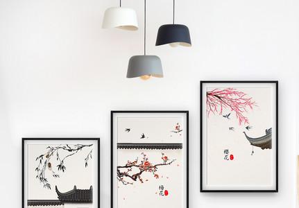 新中式禅意客厅装饰画图片