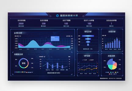 UI设计蓝色科技感大数据后台web界面图片