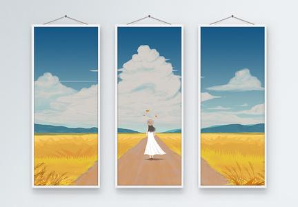 金黄的秋天三联框插画装饰画图片