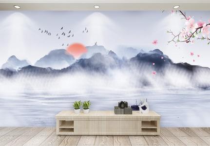 中国风山水背景画图片