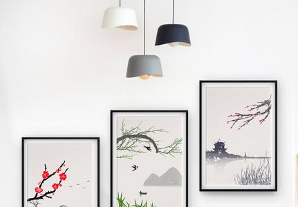 新中式水墨梅花境装饰画图片