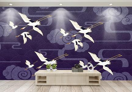 中国风仙鹤纹饰电视背景墙图片