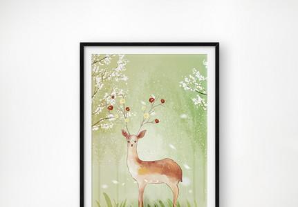 梅花鹿装饰画图片
