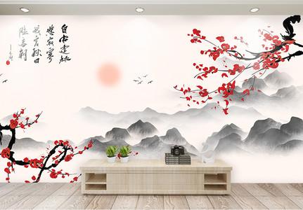 中式风红色梅花山水意境背景墙图片