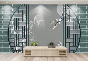 新中式梅花浮雕效果背景墙图片