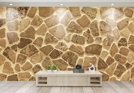 轻奢金色岩石效果背景墙图片