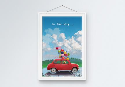 夏日旅行女孩红色汽车装饰画图片