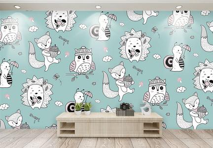 可爱儿童动物背景墙图片