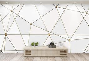 现代简约淡雅质感几何电视背景墙图片