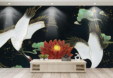 轻奢中国风仙鹤与红莲电视背景墙图片