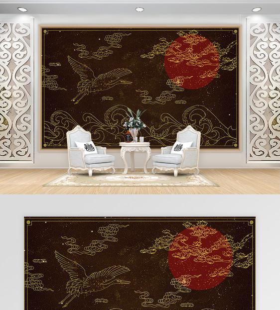 中国风黑金仙鹤电视背景墙图片