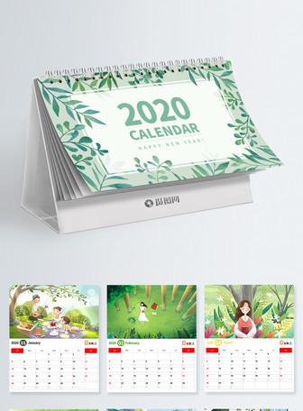 小清新2020鼠年日历设计