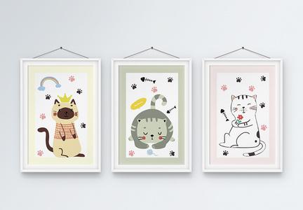 手绘欧式动物装饰画图片