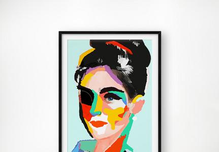 抽象美女装饰画图片