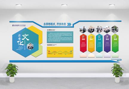 蓝色企业文化墙图片