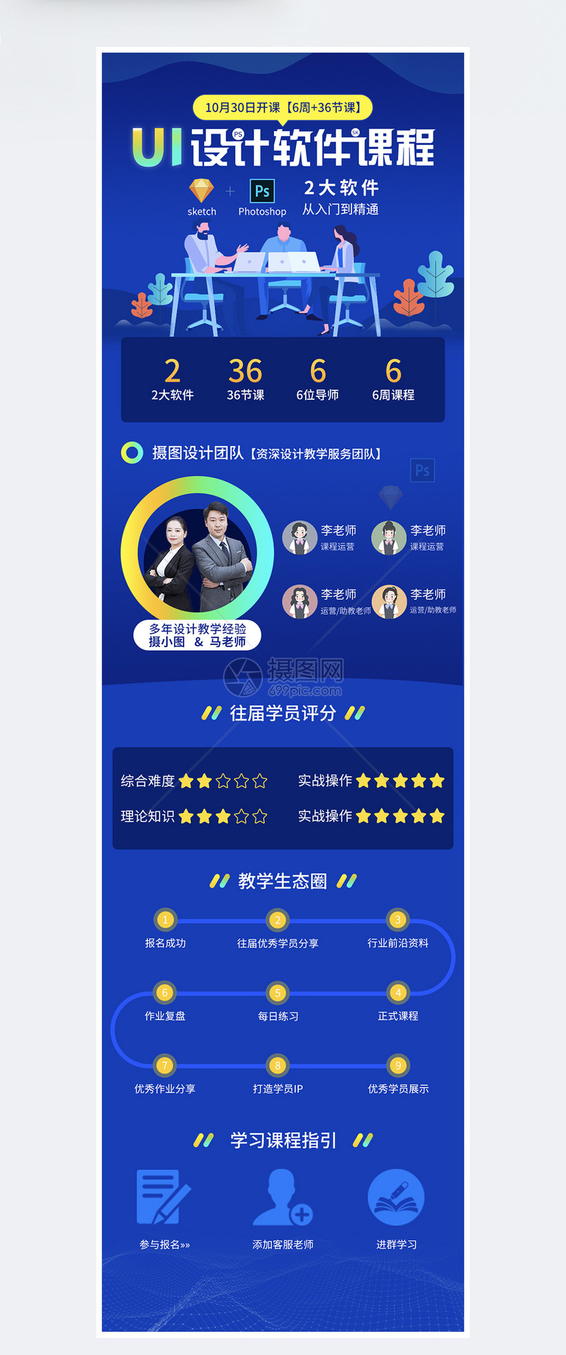 家具UI设计软件线上课程设计长图国振蓝色内部营销规范图片