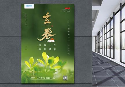 绿色清新24节气立春海报图片