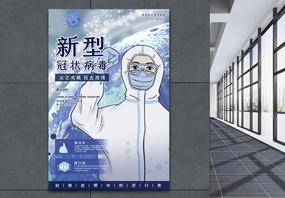 蓝色新型冠状病毒预防公益海报图片