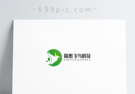 绿色飞鸟科技logo设计图片