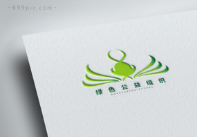 绿色几何形状logo设计图片