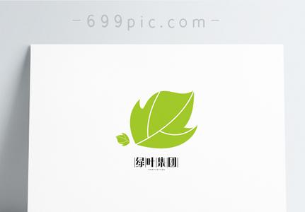 绿色简约树叶形状logo设计图片