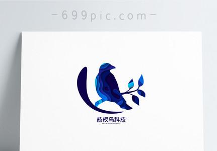 蓝色剪纸风鸟logo设计图片