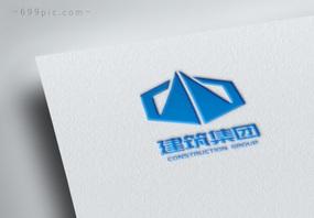 菱形蓝色对称重工业行业建筑集团logo设计图片
