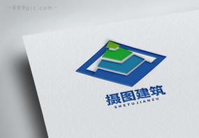 建筑公司简约几何图形logo设计图片
