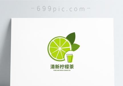 绿色清新柠檬果茶店logo设计图片