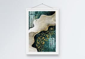 抽象新中式意境简约鱼群装饰画图片