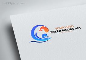海浪鱼logo设计图片