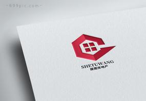 几何形状房地产高楼logo设计图片