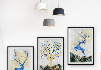 瓷晶梅花鹿树叶抽象装饰画图片