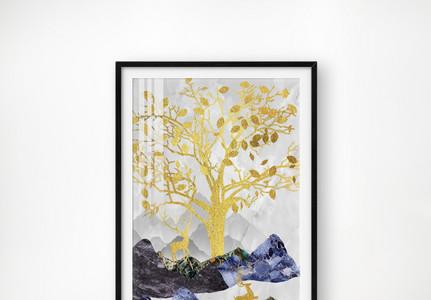 晶瓷画梅花鹿山树鎏金时尚高档背景图片