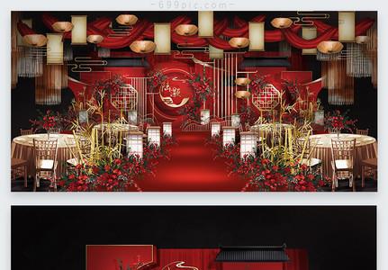 红金中式婚礼效果图图片