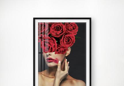 原创油画肌理现代轻奢晶瓷摩登美女人物装饰画图片