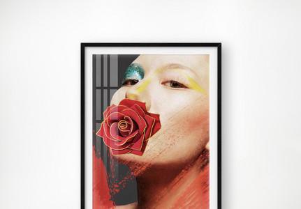 肌理现代轻奢晶瓷摩登美女人物玫瑰花客厅玄关图片