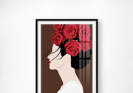 手绘原创莫兰迪中式艺术小清新美女单联装饰画图片