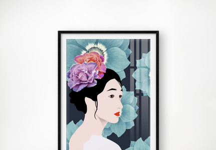 手绘原创莫兰迪中式艺术小清新美女花单联装饰画图片