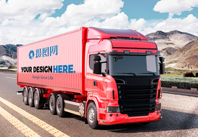 大卡车货车车体广告样机图片