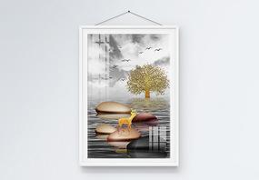 轻奢抽象风景石来运转麋鹿树木装饰画图片