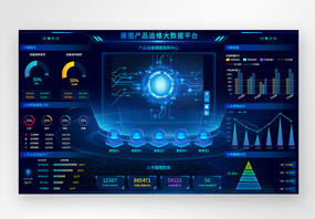 UI设计蓝色科技设备产品运维web可视化界面图片