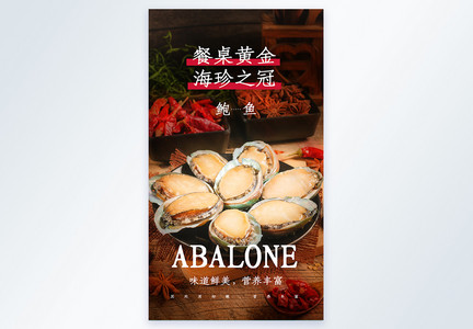 餐桌黄金海珍之冠鲍鱼摄影图海报图片