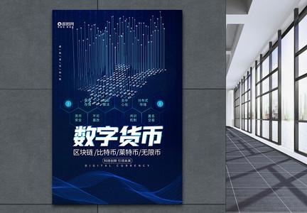 蓝色科技数字货币金融货币海报图片