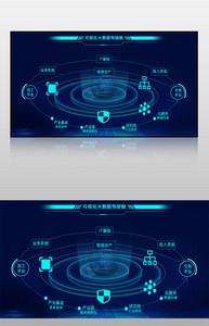 蓝色科技风大数据交易中心可视化界面图片