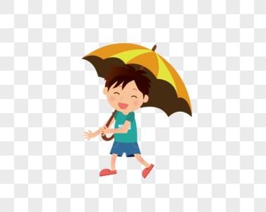 撑伞的男孩图片