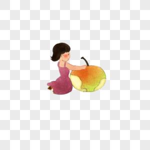 扶着苹果的女孩图片